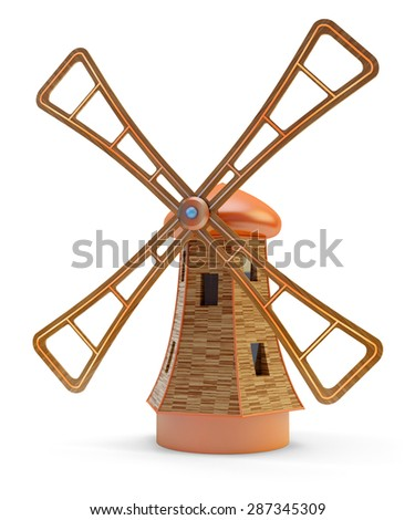 Old wooden windmill isolated on white background - stock photo