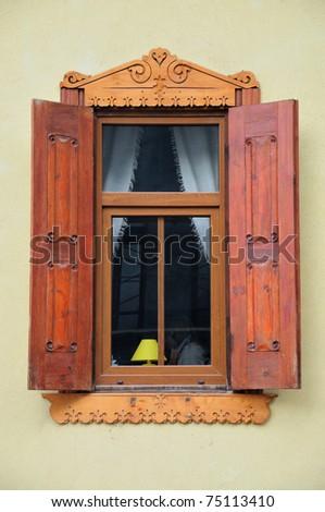 old wooden window, exterior - stock photo