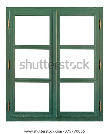 Old wooden window with six pane - stock photo