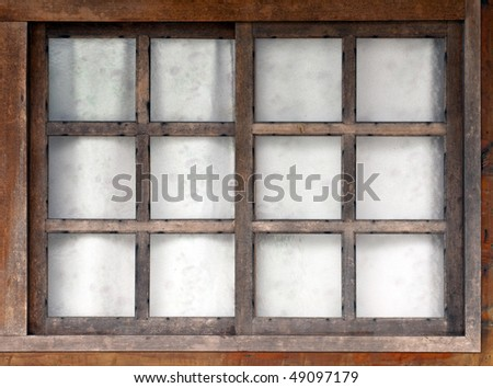 old wooden window with white background - stock photo
