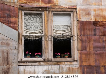 Old wooden windows and flowers in ghost town of St Elmo in Colorado - stock photo