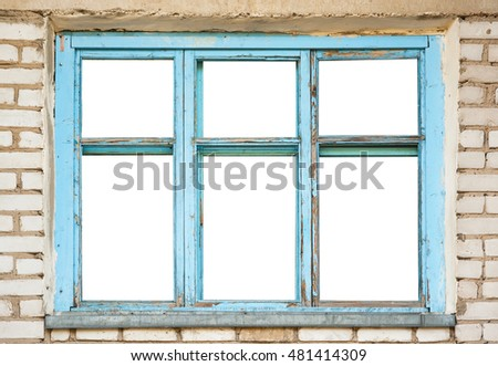 Very Old Grunge Wooden Window Frame Stock