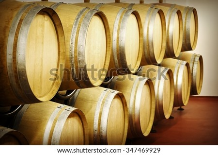 Old Wooden Wine Barrels - stock photo