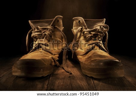 old work shoes - stock photo