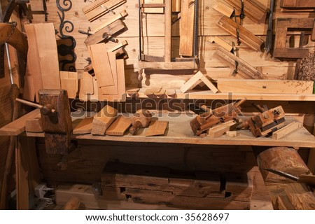 Old workbench - stock photo