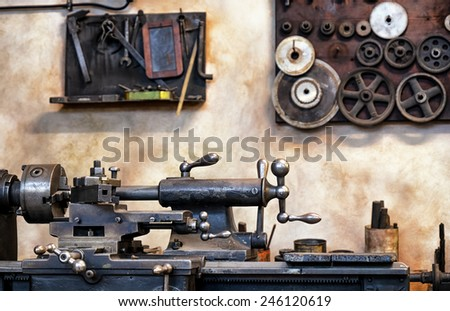 old workbench at an antique workshop - stock photo