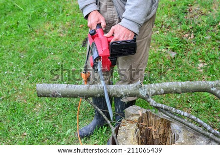Old worker using electric chainsaw, cutting beech branch, preparing firewood for winter