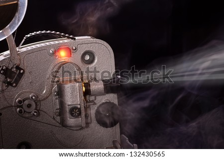 Old working super-8 film  movie projector - stock photo