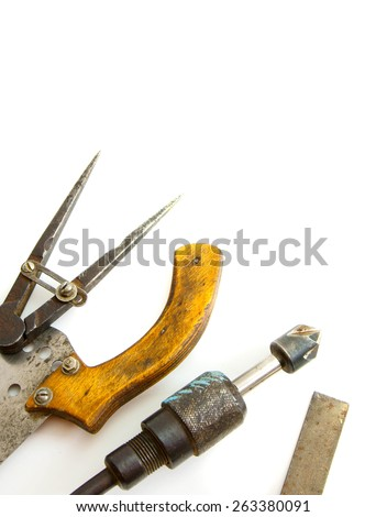 Old working tools. Vintage working tool on white background. - stock photo
