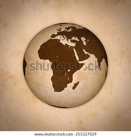 Old World Globe, Europe and Africa. - stock photo