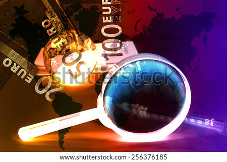 old world globe ,money and a magnifying glass, on white background. abstract background to solution of import,export,and on line international commercial