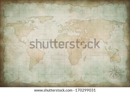 old world map background - stock photo
