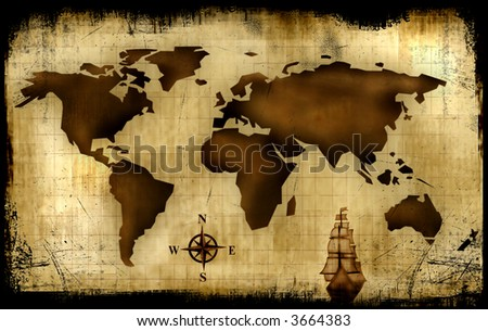 Old World Map Background - Abstract - stock photo