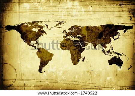 old world map on paper - stock photo