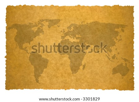 old world map on parchment background. - stock photo