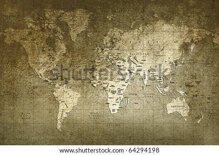 Old world map with great texture and amazing colors - stock photo