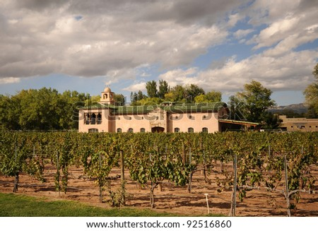 Old world style farmhouse and winery - stock photo