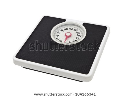 Old, worn, bathroom scale isolated on white. - stock photo