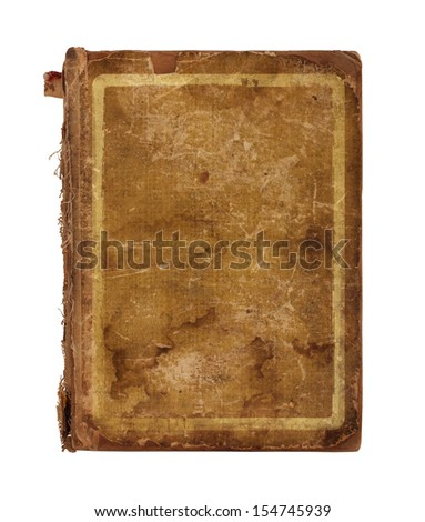 Old worn book cover isolated on white background - stock photo