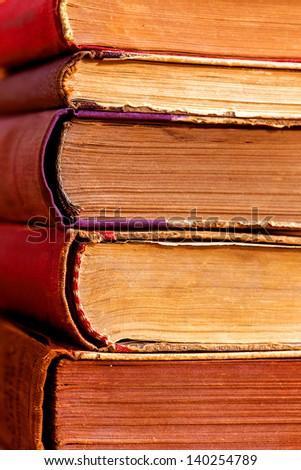 old worn books - stock photo