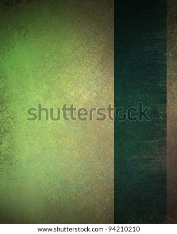 old worn green and brown background with vintage grunge texture and faded dark ribbon layout design of stripe on border of frame with copy space for text or book cover - stock photo