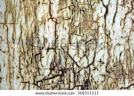 Old worn metal surface with paint. Rusty metal texture. Metal sheet with rust and worn paint. Background. Wall. Floor. White paint in the cracks and rust. Attrition. Corrosion. Fungus. Oxidation. - stock photo