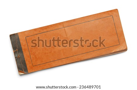 Old Worn Orange Booklet Isolated on White Background. - stock photo