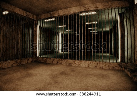 Old Worn Out Dwelled Private Prison Cell Scene 3D Illustration
