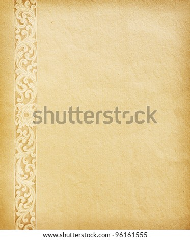 Old worn paper with  ornament. - stock photo