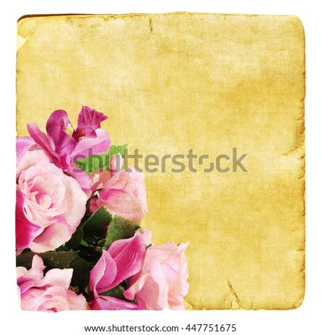 Old worn paper with roses - stock photo