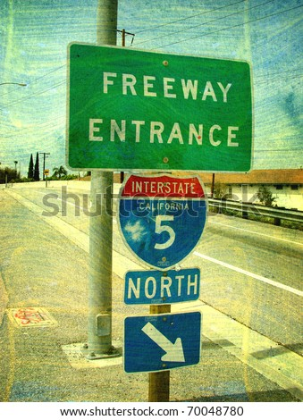 old worn photo of california freeway entrance
