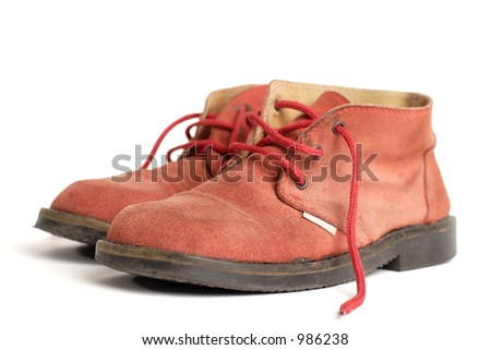 old worn red boots