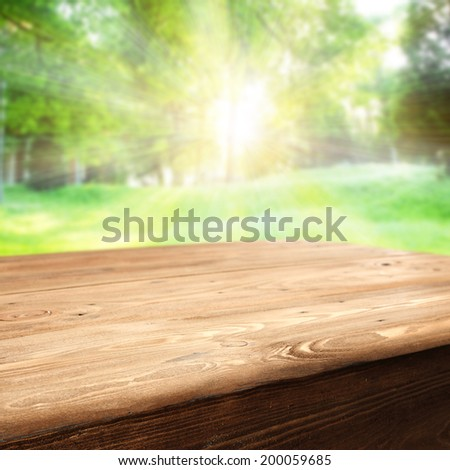 old worn table space and sun light  - stock photo