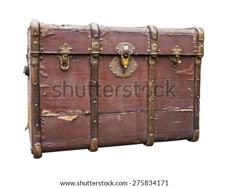 Old, worn travel luggage isolated on white. Path included. - stock photo