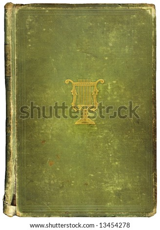 Old worn vintage book with copy-space for your own text. Musical symbol on cover. - stock photo