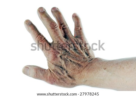 Old wrinkled hand isolated on white - stock photo