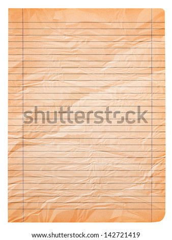 old  wrinkled  page of notebook paper - stock photo