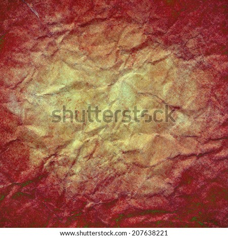 old wrinkled paper background gold beige center and dark red border design, grunge vintage red paint texture frame with faded center, red white paper texture, elegant distressed wall paint  - stock photo