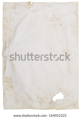 old wrinkled paper isolated on white - stock photo