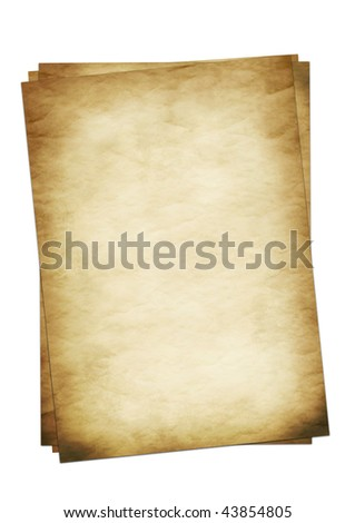Old wrinkled paper set on a white background