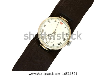 Old  wrist watch with leather wristlet.