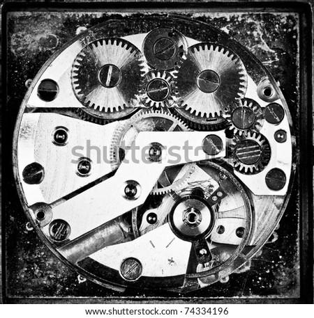 Old wristwatch clockwork close-up - stock photo
