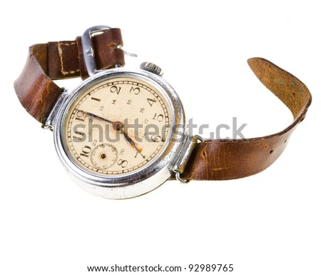 Old wristwatch with leather strap - stock photo