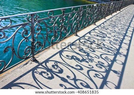 old wrought iron railing on a walkway in lucerne switzerland europe