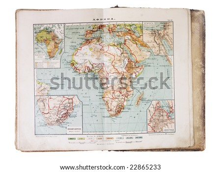 old XIX century geographical map-book open - stock photo