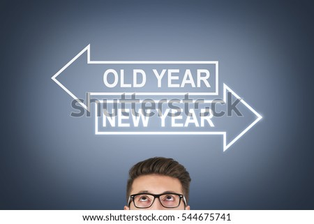 Old Year or New Year over Human Head