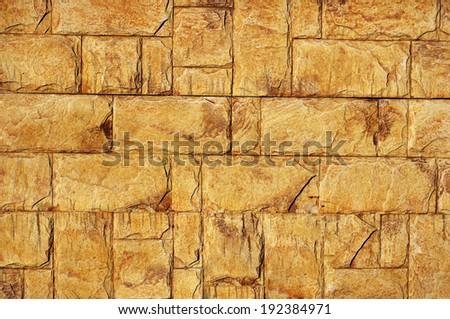 Old Yellow Bricks Wall Pattern - stock photo