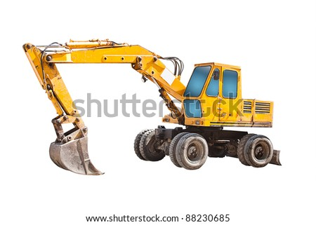 Old yellow digger on a white background - stock photo