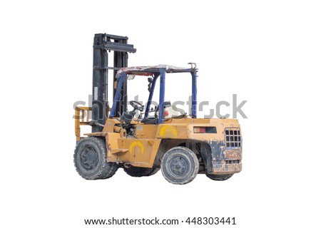 Old yellow forklift truck isolated on white background with clipping path.