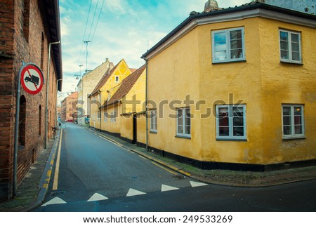 old yellow house in Helsingor - stock photo